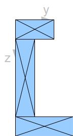 Querschnitt Teilflächen mit Schwerpunkten